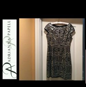 Adrianna Papell BaroqueSilver Sequin Dress 10
